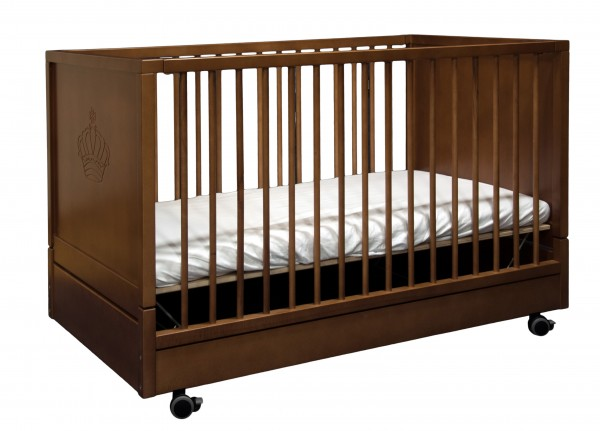 Kinderbett Klappbar mit verstelbarem Lattenrost Walnuß