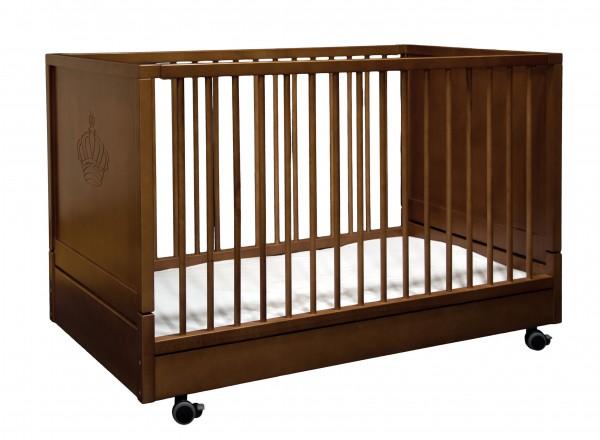 Kinderbett klappbar mit festem Lattenrost Walnuß